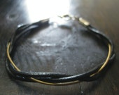 Guitar String and Leather Cord Twist Bracelet