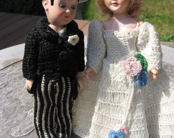 Vintage Bride and Groom Dolls with crocheted out fits.....