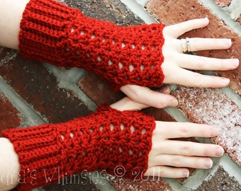 Made to Order: Brick Red Crochet fingerless gloves Custom Colors Medium length lacy Feminine Elegant Beautiful maineteam