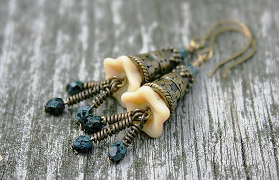 Victorian Flower Czech Glass and Antiqued Brass Earrings