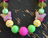 Pink Butterfly Little Girls Chunky Necklace