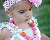 Chunky little girls Orange & Pink necklace