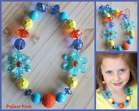 Blue Daisy Chunky Little Girls Necklace