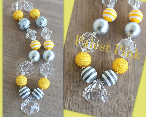 Gray and Yellow stripe chunky little girls necklace