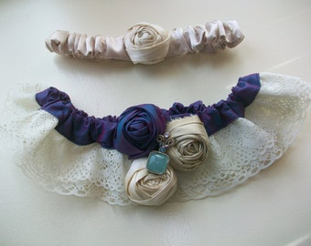 Lace Wedding Garter Set, Bridal Garter Set, Lace Garter, Crystal Garter: Purple Garter, Blue Bridal Garter Wedding Garter Lace, Throw Garter