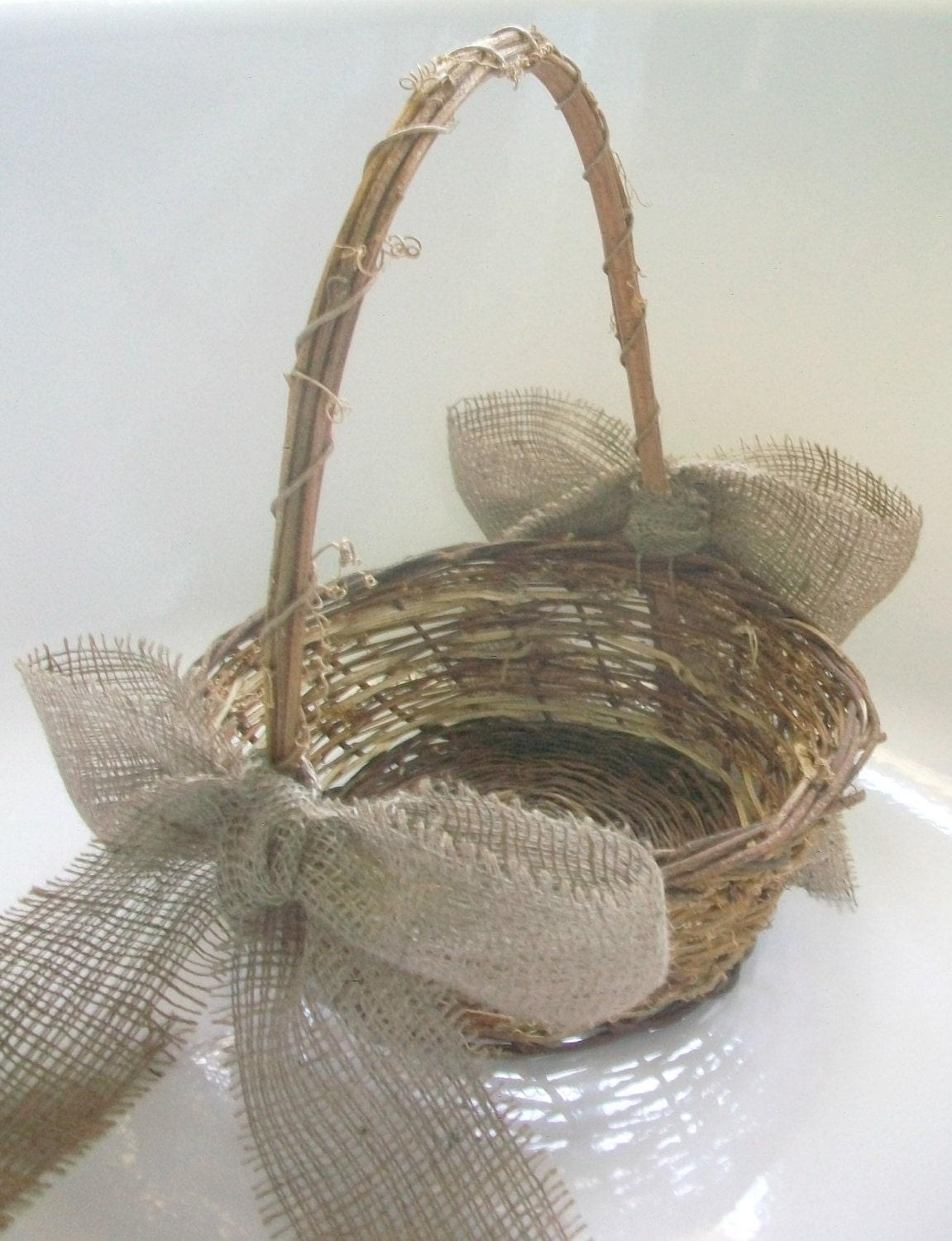 Rustic Burlap Flower Girl Baskets : Burlap flower girl basket rustic natural twig wedding