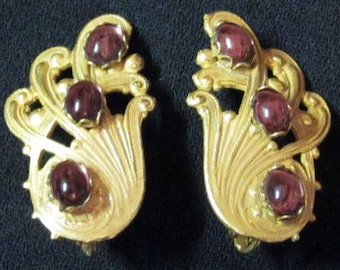 Miriam Haskell Gold and Purple Earrings