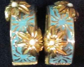 Ciner Blue and Gold Flower Earrings