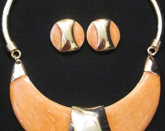 Alexis Kirk Pearlized Orange Necklace and Earring Set