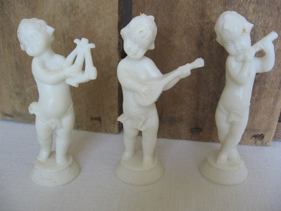 ON SALE Cake Toppers White Musical Angels Cherub Angel Cake Toppers