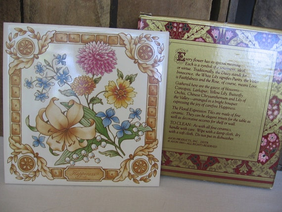 RESERVED FOR THERESA - Avon Floral Expression Tile Happiness Vintage 1983