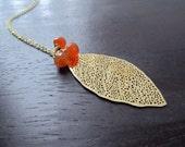 Orange Carnelian Gemstone Trio, Gold Leaf Pendant Necklace