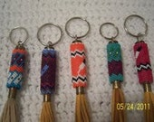 Hand Beaded Keychain on Brass and Leather