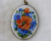 Antique China Pendent with Hand Painted Porcelin Poppy and Blue                  Flowers