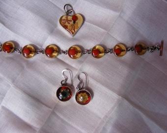 Red Roses  Set- Sterling Silver set of Bracelet, Earrings and Pendant