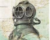 Scuba Diver Helmet Print antique map of East America Nautical Wall Art, Coastal Living  Map diving art, seaside cottage decor
