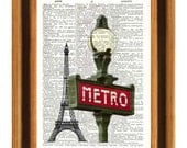 Paris Print, Eiffel Tower Paris Print Dictionary Art Print Upcycled dictionary page Prints, illustration  printed on old dictionary page