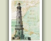 Lighthouse Print  on antique  map of Mexico Gulf, Wall Art, Matte Print  vintage map and illustration, Print 5x7