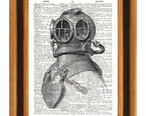 Helmet Deep Sea Scuba  Diver Print,  vintage french illustration  printed on old dictionary page, Upcycled Dictionary Art Print,