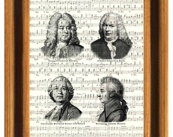 Music composers print, Music wall art,  Händel, Bach, Wilibald, Mozart, famous music composers print,  illustrations old sheet  music,