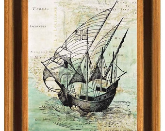 Old Pirate ship on antique  map of East Coast  America Wall Art Print, Matte Print, vintage map illustration