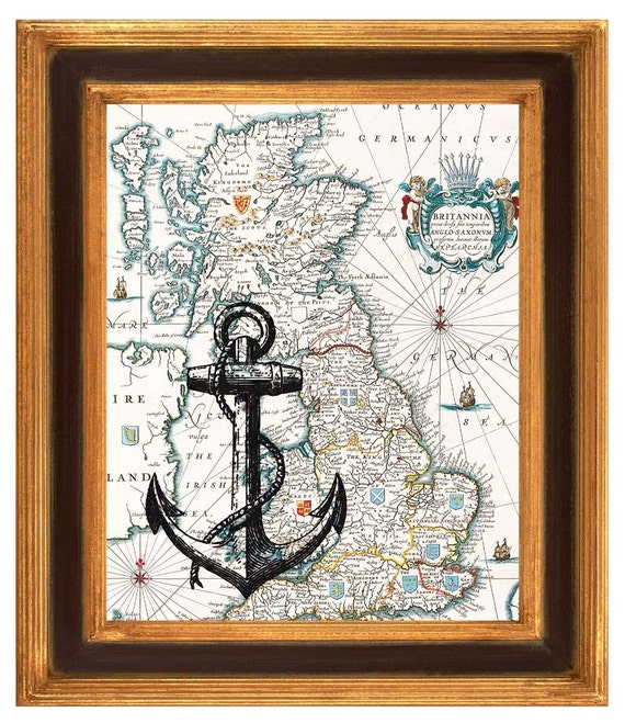 Vintage Anchor Wall Decor : Items similar to black anchor print on antique map of