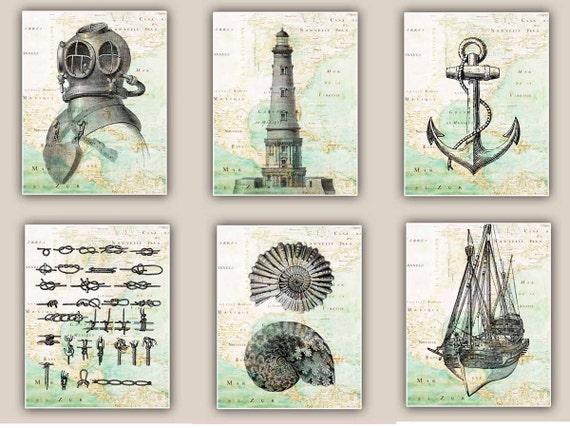 Items similar to Nautical art Prints antique map East ...  Items similar t...