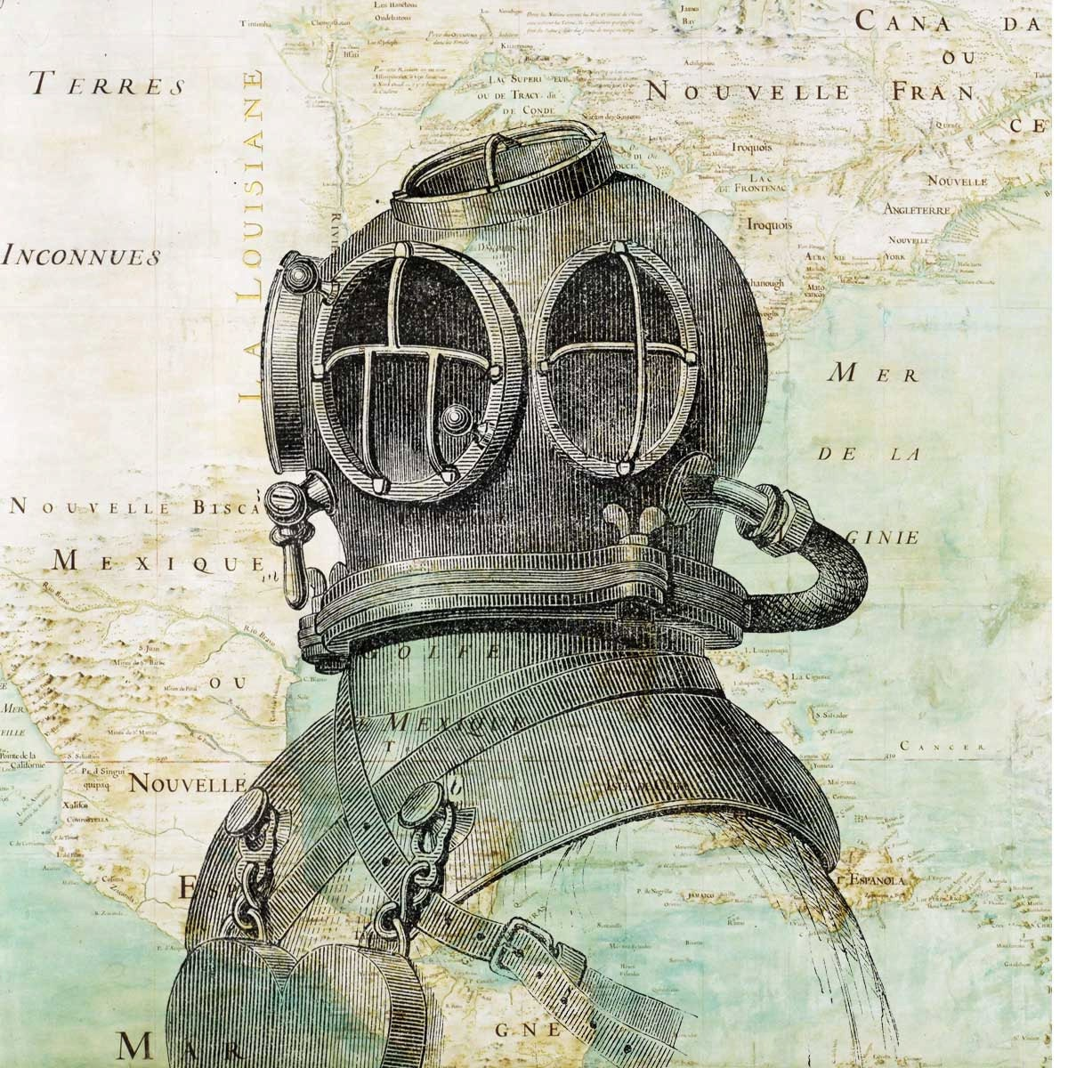 Scuba diver helmet print antique map of east america nautical for Vintage ocean decor