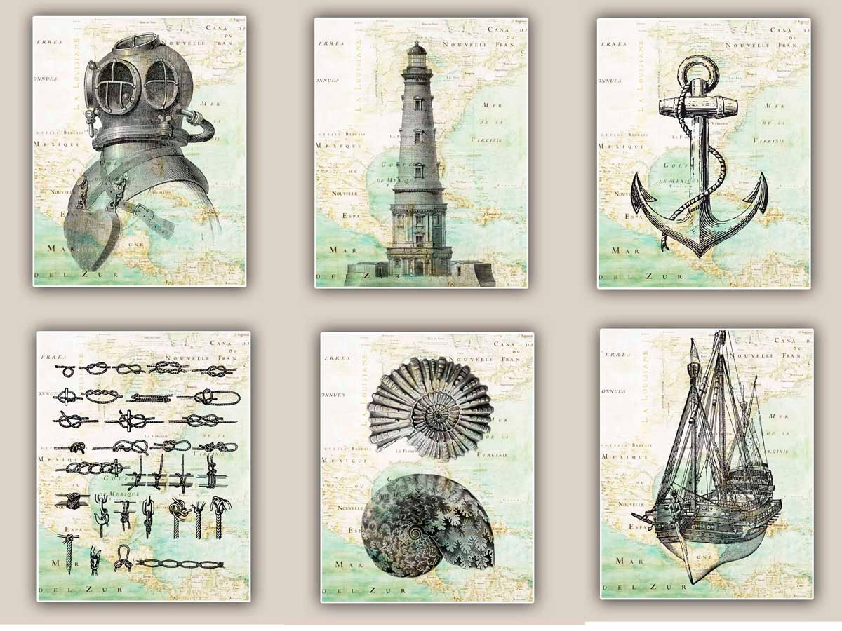 Nautical map art prints for coastal living and beach by for Nautical decor