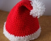 Santa Hat Crochet for Baby 16 in  Christmas gift Photo Prop