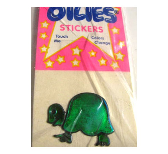 Rare Vintage Oilie Liquid Turtle Tortoise Sticker New in Package 80's Oily