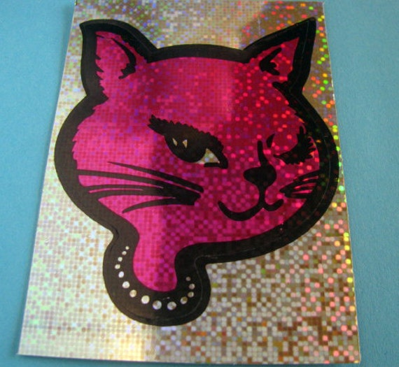 Vintage Winking Cat Vending Machine Sticker - 80's Retro Fuchsia Silver Glitter Kitty