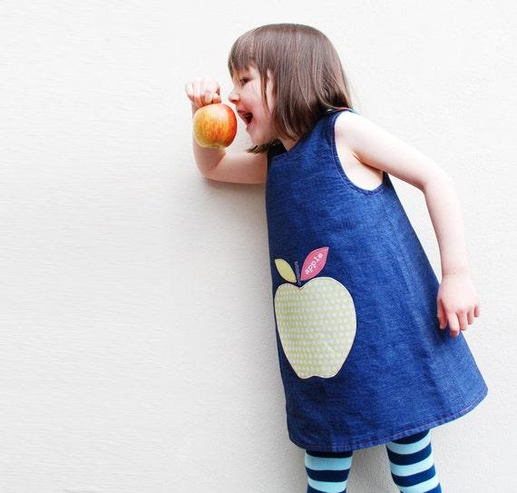 Big apple girls reversible organic print denim dress