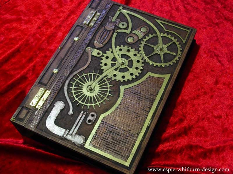 Steampunk Book Cover Tutorial : Steampunk blank book journal diary