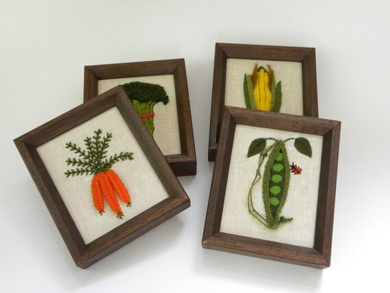 Set of 4 Framed Vegetable Embroideries