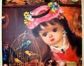 Four Vintage Kitsch  Decorative Children's Prints French Dolls by Calogero 1960 Penn Prints N.Y. Donald Art Co. INC