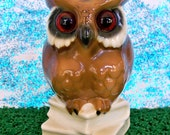 Vintage Gerold Porzellan stamped West Germany owl on books with glass eyes figurine MINT condition