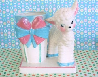Vintage Kitsch Baby Lamb Sheep Planter or Pencil Pen Holder