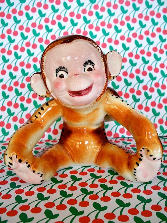 Vintage Super Cute Cheeky Kitschy Monkey Planter