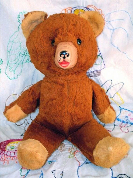 Vintage Kitsch Rubber Face Brown Teddy Bear