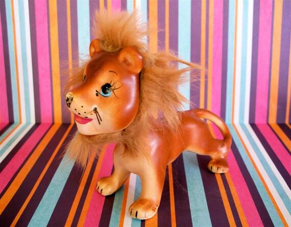 Vintage Kitsch Adorable Lion Figurine With Fur