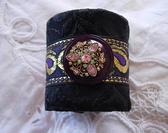 Purple Black and Gold Vintage Jeweled Fabric Cuff Bracelet
