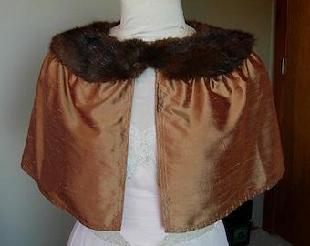 Raw Silk Capelet with Vintage Fur Collar