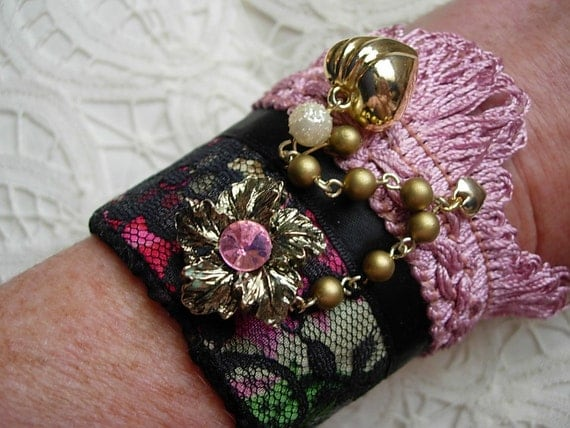 Hearts and Flowers Vintage Jewelry Lace and Fringe Fabric Cuff Bracelet