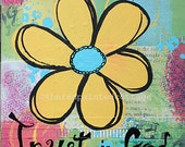 Trust in God, Mixed Media Yellow Flower -  6 x 6 inch, This is an Original Mixed Media