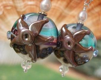 Ocean Starfish Blue Beach Earrings Jewelry Lampwork Glass Beads Sterling