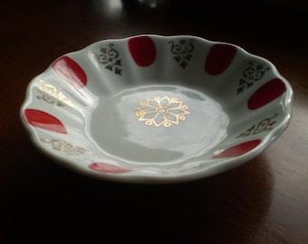 Vintage Porland of Turkey Turkish Dish Red white and gold Free UK shipping