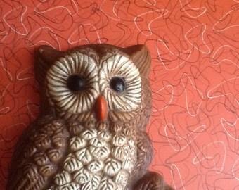 Vintage owl wall hanging 1960s UK