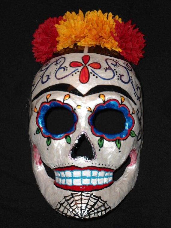 Red and White Frida Kahlo Dia De Los Muertos Day of the Dead Sugar Skull Mask
