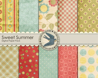 "Digital Scrapbook Paper Pack Instant Download - Sweet Summer - 10 digital papers 12"" x 12"""
